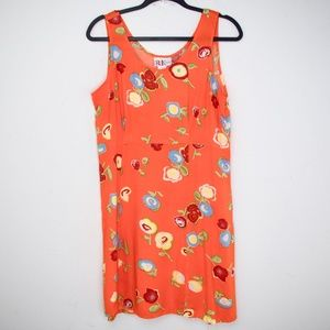 Retro Y2K Orange Floral Rayon Babydoll Dress
